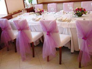 банты для стульев на свадьбу красиво