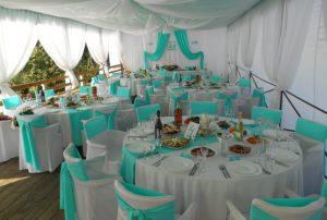 Декор на свадьбу в цвете аквамарин недорого