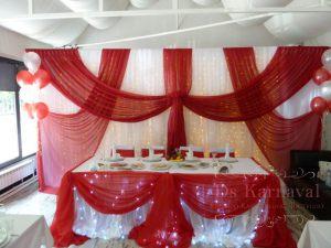 Декор свадьбы в алом цвете дешево