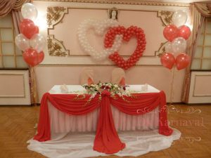 Декор свадьбы в алом цвете фото
