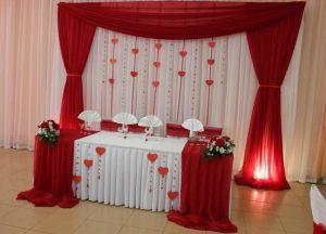 Оформление свадьбы в алом цвете фото