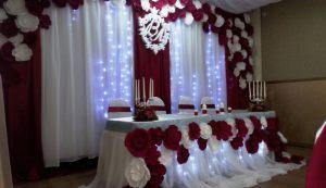 Декор на свадьбу в бордовом цвете в Москве