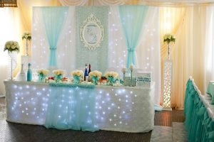 Декор на свадьбу в голубом цвете фото