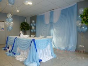 Оформление на свадьбу в голубом цвете дешево