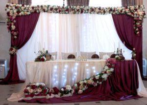 Декор свадьбы в цвете марсала в Москве