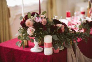 Украшение свадеб в цвете марсала фото