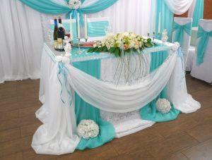 Украшение на свадьбу в небесном цвете в Москве
