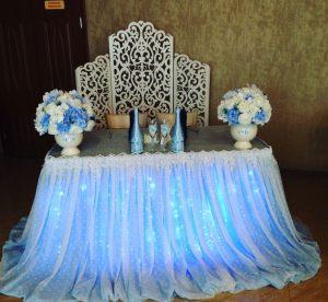 Оформление на свадьбу в небесном цвете дешево