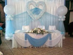 Украшение свадьбы в небесном цвете дешево