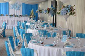 Украшение свадеб в небесном цвете недорого