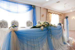 Украшение на свадьбу в небесном цвете фото