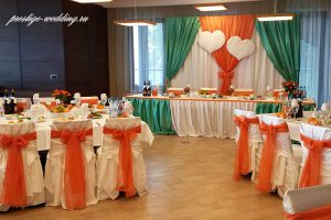 Украшение свадьбы в оранжевом цвете фото