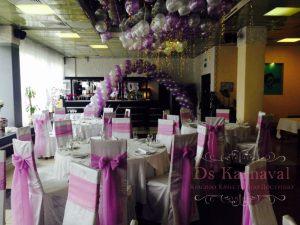 Декор на свадьбу в пурпурном цвете оригинально