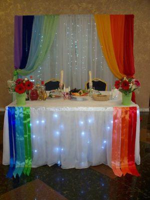 Оформление свадьбы в цвете радуги красиво