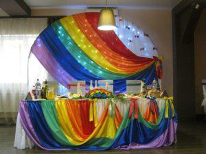 Оформление свадеб в цвете радуги в Москве