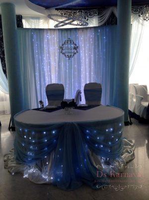 Декор на свадьбу в синем цвете оригинально