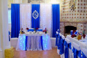 Оформление на свадьбу в синем цвете фото