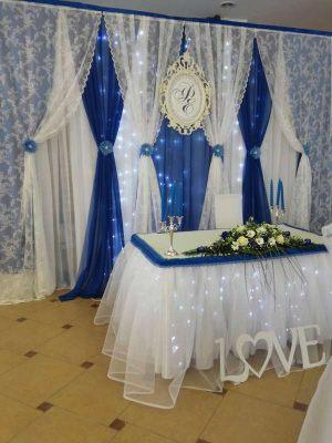 Декор на свадьбу в синем цвете красиво