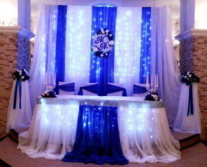 Украшение на свадьбу в синем цвете дешево