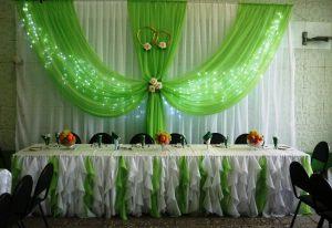 Декор на свадьбу в зеленом цвете красиво