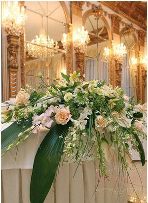 Украшение свадьбы композицией цветов на столы дешево