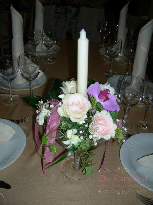 Декор свадеб композицией цветов в бокалах фото и цены