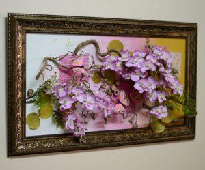 Декор на свадьбу композицией цветов на стенах недорого