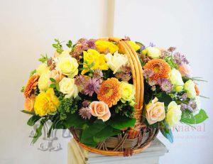 Оформление свадьбы композицией цветов в корзинах недорого цены