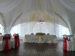 Оформление свадьбы композицией из цветов на президиум оригинально