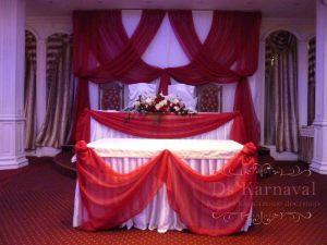 Оформление на свадьбу композицией из цветов на президиум оригинально