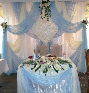 Украшение свадеб композицией из цветов на президиум в Москве
