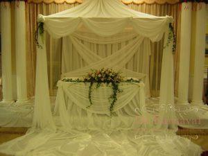 Оформление свадеб композицией из цветов на президиум недорого в Москве