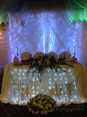 Оформление свадеб композицией из цветов на президиум недорого