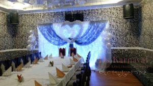Украшение свадеб тканью фото
