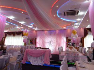 Декор ресторана для свадьбы тканью недорого