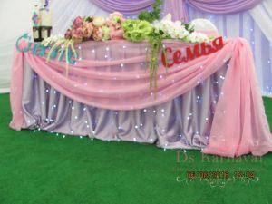Оформление стола молодых тканью для свадеб цены