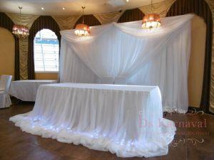 Оформление стола молодых тканью для свадьбы недорого в Москве