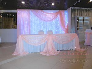 Декор стола молодых тканью для свадьбы недорого цены