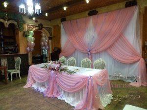 Оформление стола молодых тканью на свадьбу недорого в Москве