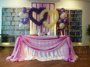 Украшение стола молодых тканью для свадеб недорого в Москве