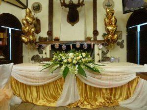 Украшение стола молодых тканью для свадьбы недорого цены