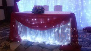 Украшение стола молодых тканью для свадьбы фото и цены