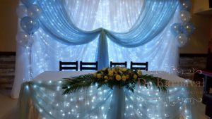 Украшение стола молодых тканью на свадьбу красиво